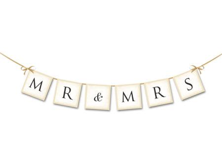 Mr en Mrs slinger, goud, creme