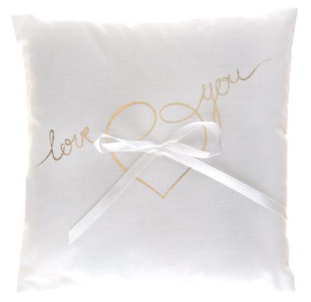 Goud, wit, love you, ringkussen, romantisch