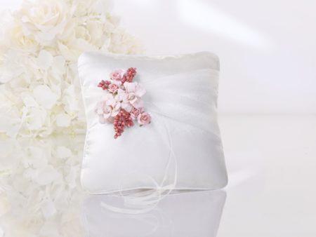Ringkussen, roze, bloementjes, lintje, strikje