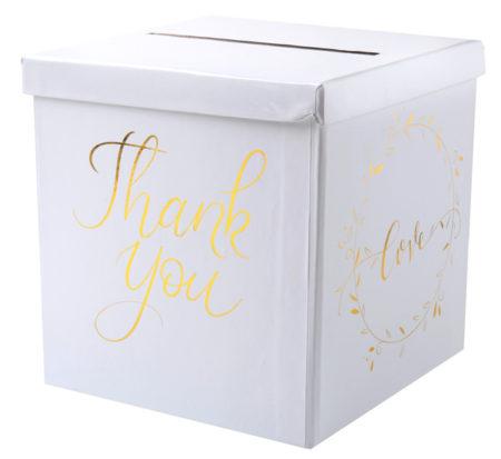 Thank you, Enveloppendoos, goud, wit, cadeautafel, cadeau