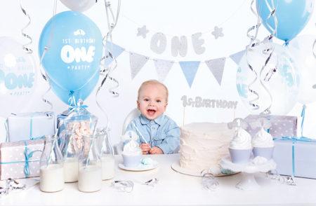 Baby, 1 jaar, jongen, blauw, zilver, verjaardagset