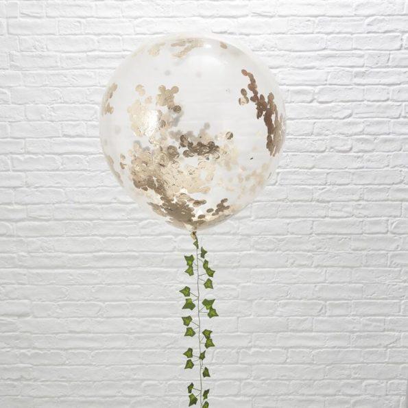 Ballon, confetti, rosé goud, transparant